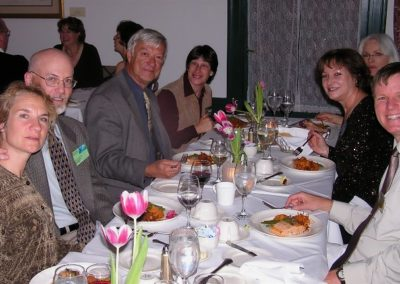 2006 Exhibition Dinner in Bennington, Vermont. (L to R): Roxanne & Mark Susinno, Bob Mason, Karryl, Joy Kroeger Beckner, Diane Mason and Wes Siegrist.